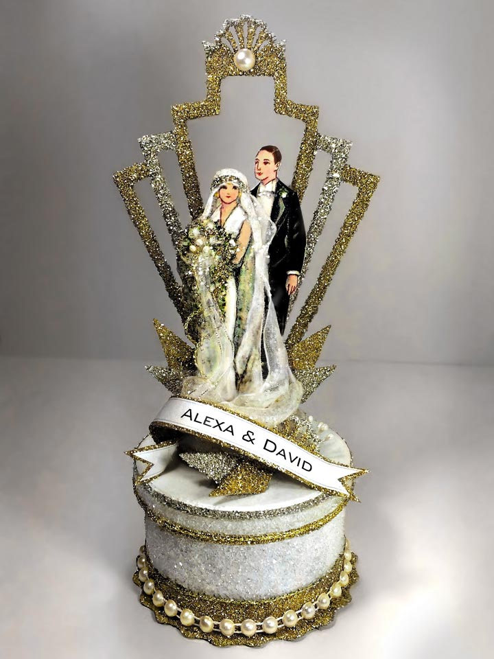 1920's Art Deco Great Gatsby Wedding Cake Topper