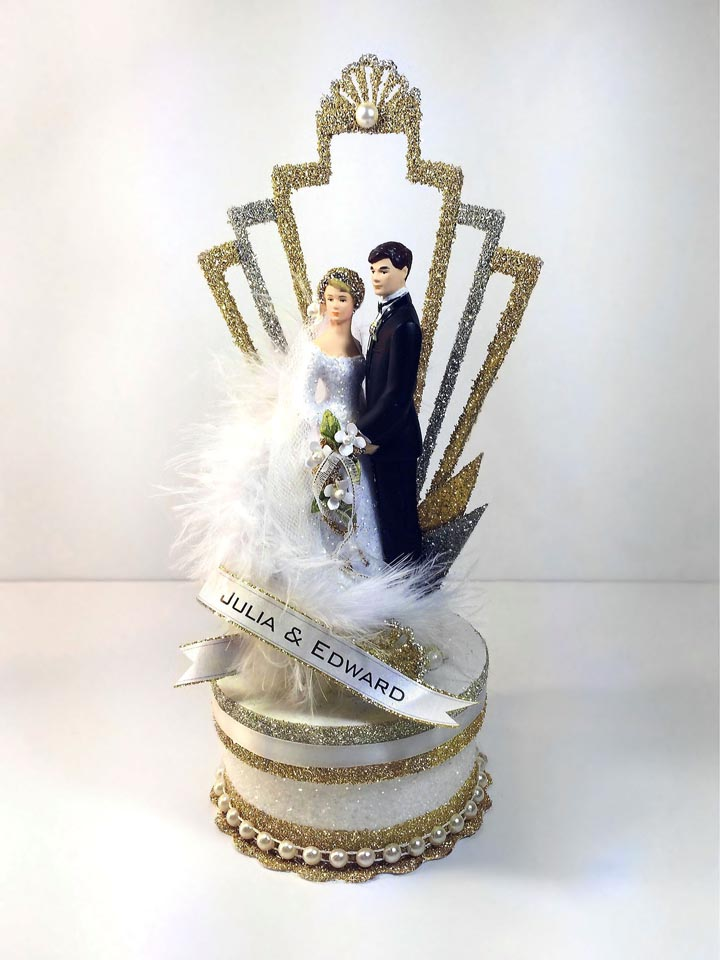 1920's Black Tie Deco Cake Topper