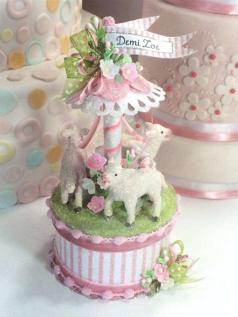 Baby Lamb Cake Topper Keepsake Box