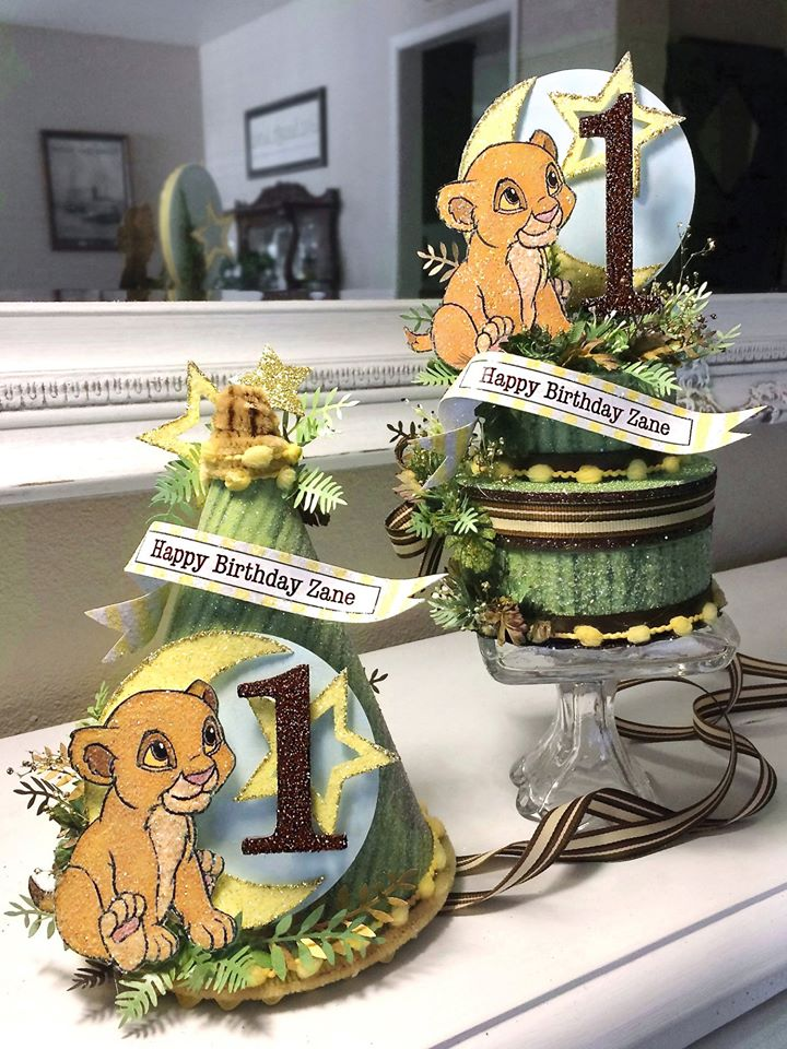 Baby Simba Party Hat And Cake Topper