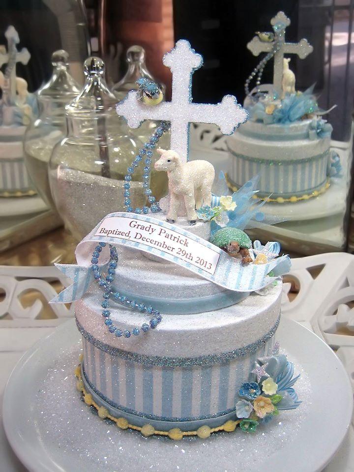Blue Baptism Cake Topper