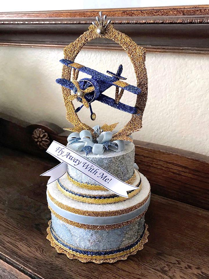 Blue Vintage Biplane Wedding Cake Topper