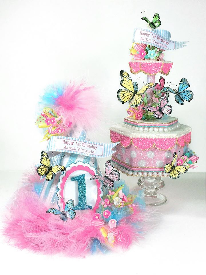 Butterfly Carousel Cake Topper With Butterfly Birthday Hat