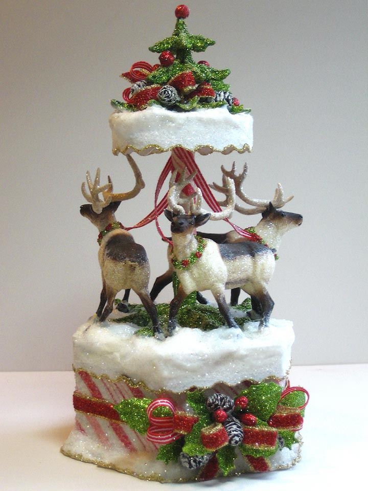 Candy Striped Reindeer Cake Topper
