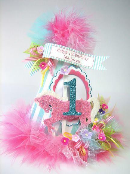 Carousel Pink Pony Birthday Hat