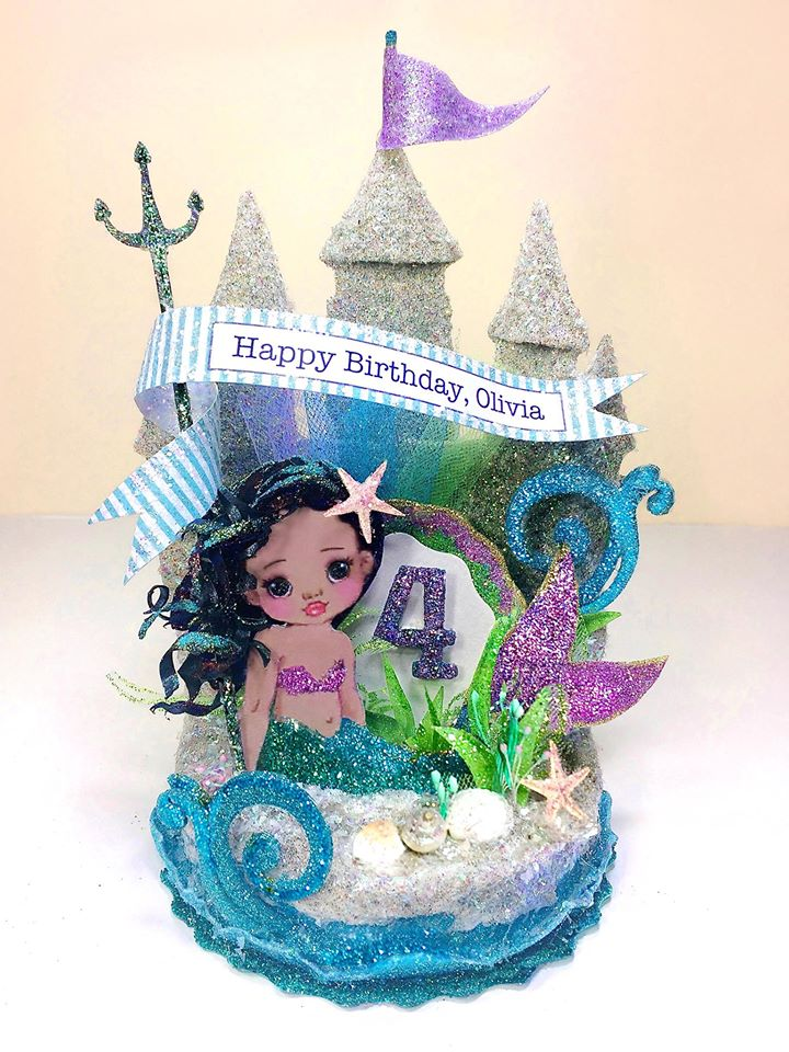 Child's Undersea Mermaid, Sand Castle Birthday Cake Topper