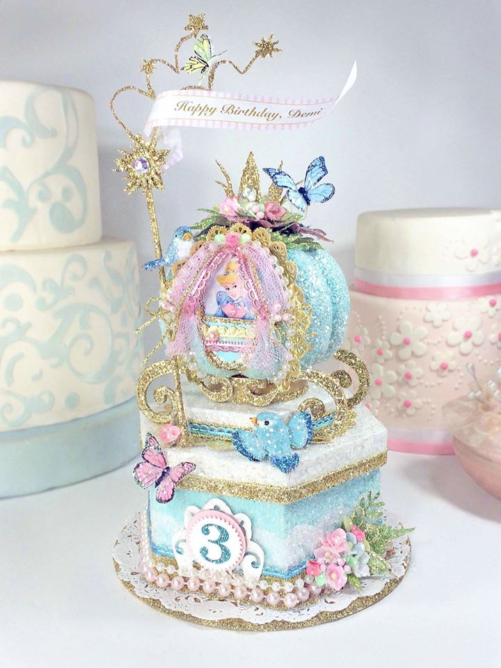 Cinderella Birthday Cake Topper, Keepsake Box