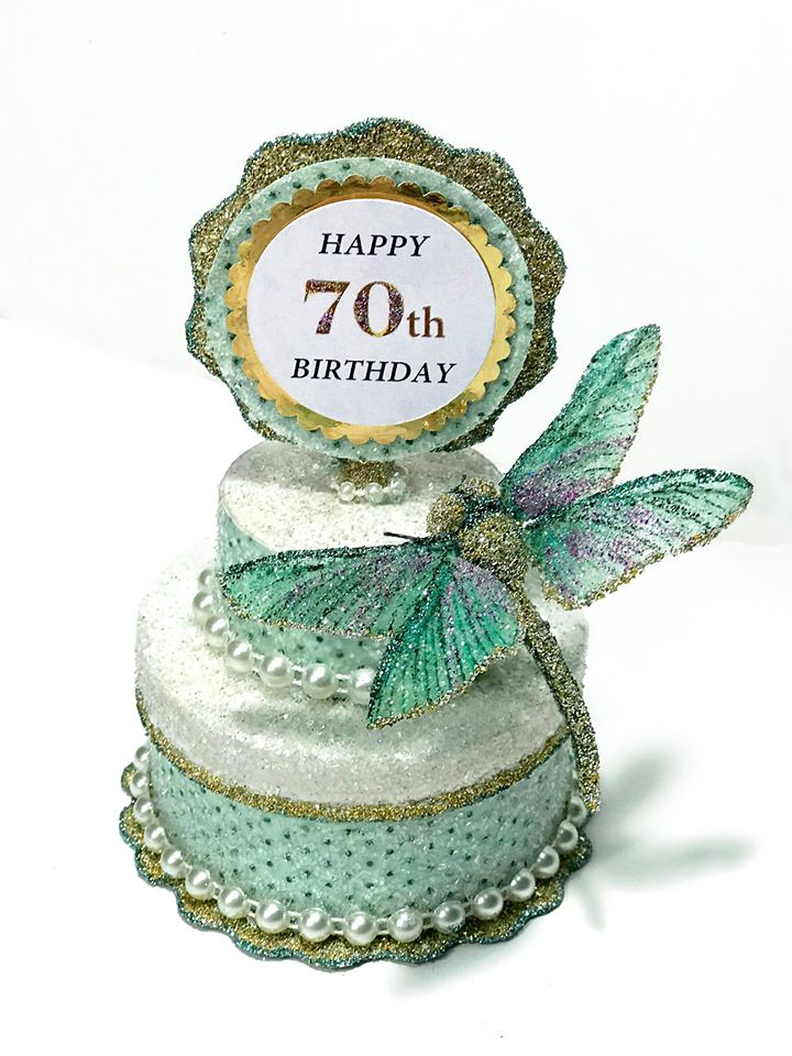 Custom Dragonfly Cake Topper, Gift Box