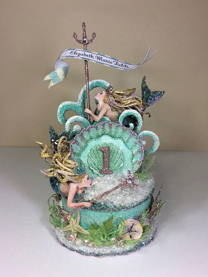 Custom Mermaid 1st Birthday Cake Topper, Birthday Topper, Keepsake Box, Art Piece