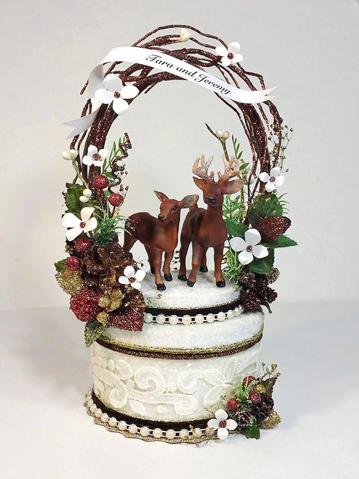 Deer In Thicket Wedding Cake Topper
