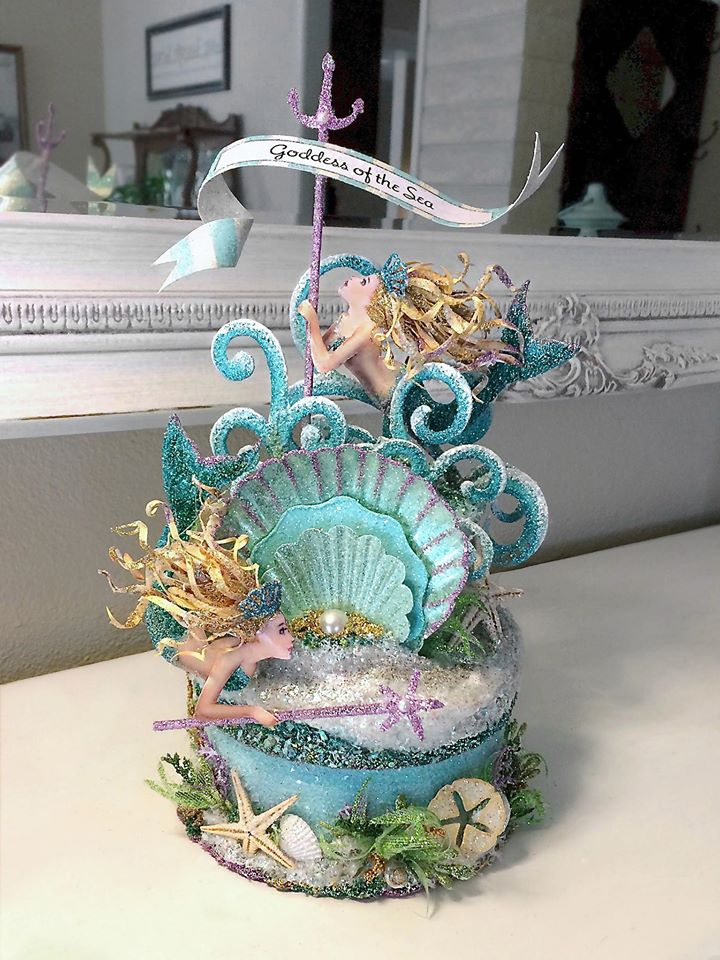 Goddess Of The Sea Mermaid Cake Topper, Centerpiece, Keepsake Box, Art Piece