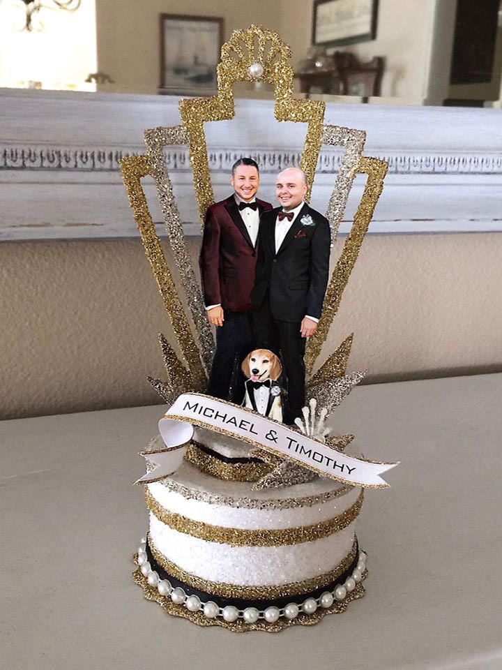 Great Gatsby, Old Hollywood Two Grooms Wedding Cake Topper