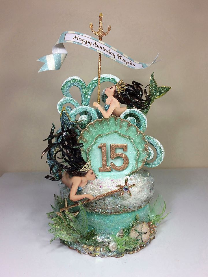 Mermaid Birthday Cake Topper, Quinceanera Cake Topper, Keepsake Box, Art Piece