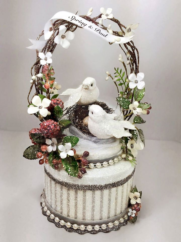 Nesting Love Birds Wedding Cake Topper