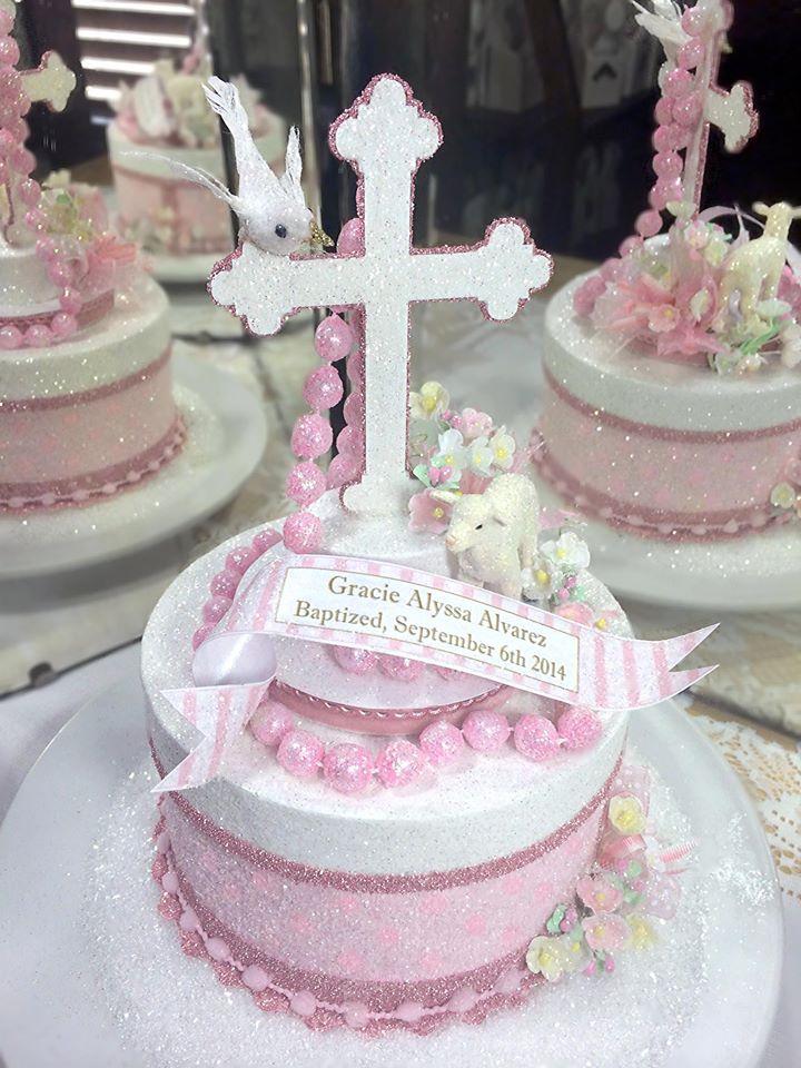 Pink Baptism Cake Topper