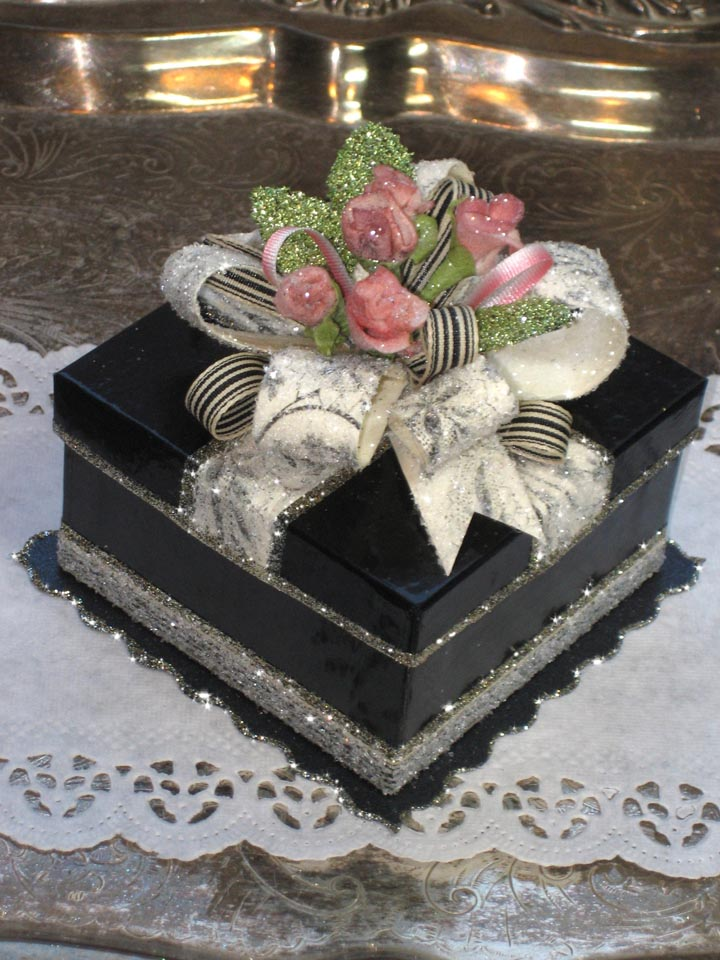 Pink & Black Wedding Favor Gift Box