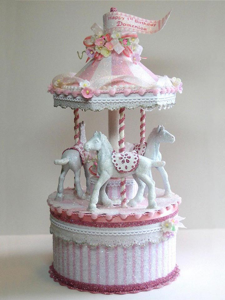 Pink Carousel Cake Topper