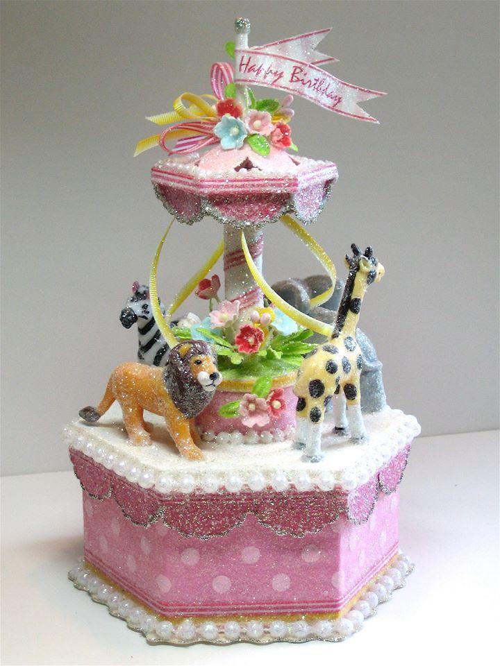 Pink Circus Carousel Cake Topper, Keepsake Box, Centerpiece
