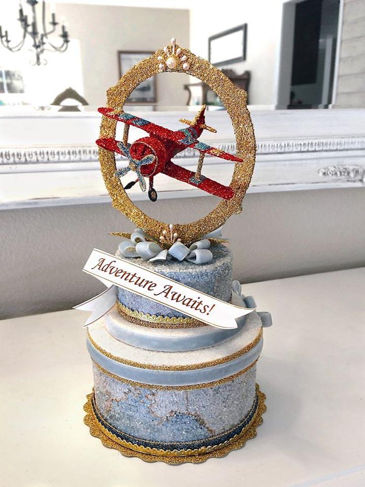 Red Vintage Biplane Cake Topper