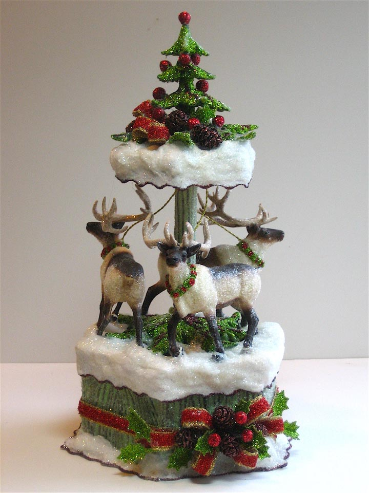 Reindeer Faux Bois Cake Topper