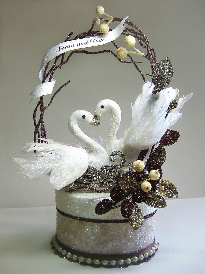 Swans Wedding Cake Topper Keepsake Box