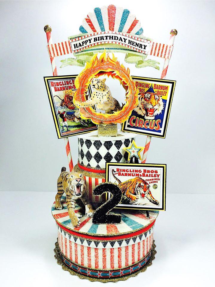 Vintage Circus Barnum And Bailey Custom Carnival Birthday Cake Topper, Keepsake Box