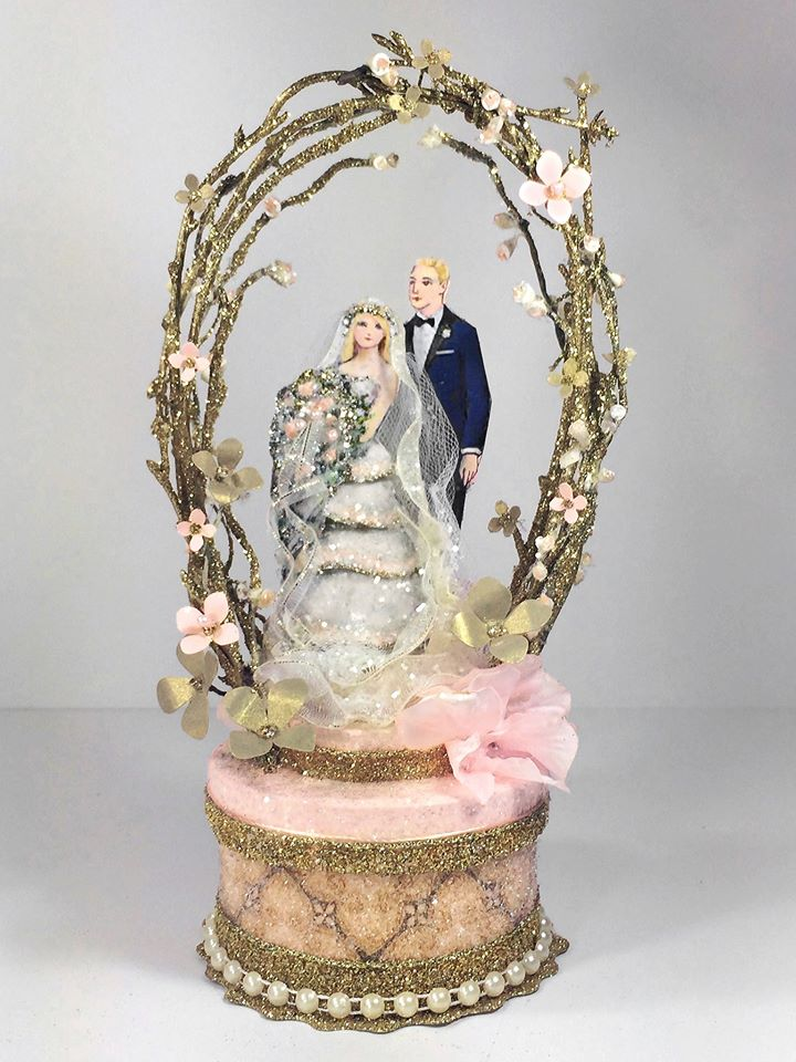Vintage Garden Wedding Cake Topper, Keepsake Box In Blush Pink And Gold