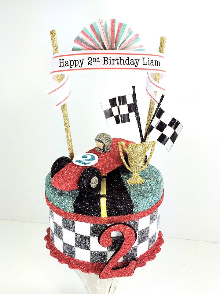 Vintage Race Car Birthday Cake Topper, Keepsake Box
