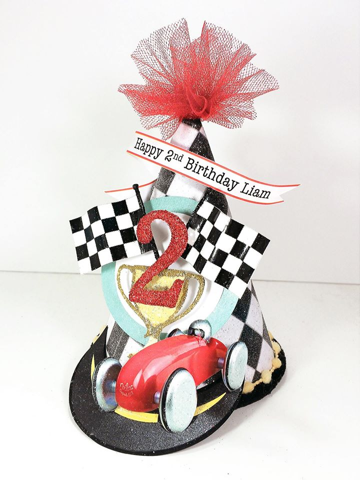 Vintage Race Car Birthday Party Hat