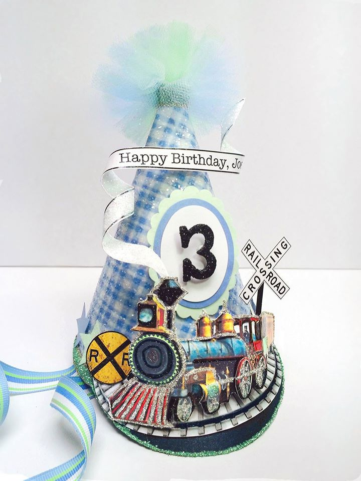 Vintage Train Custom Birthday Hat