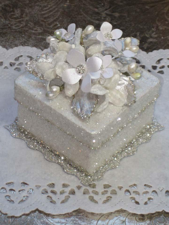 White Sparkle Wedding Favor Gift Box